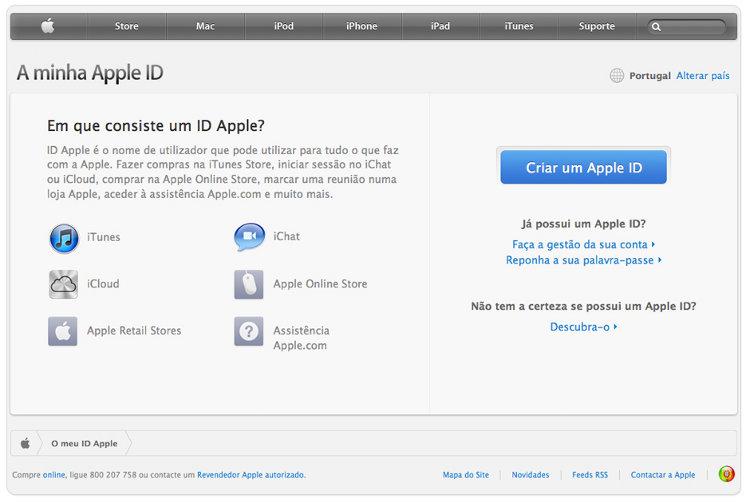 Criação de um Apple ID no site da Apple